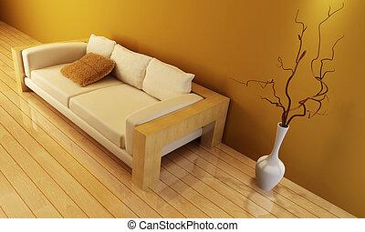 aufenthaltsraum, zimmer, mit, couch