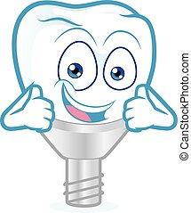 aufgabe, zahn, daumen, implantat, zwei