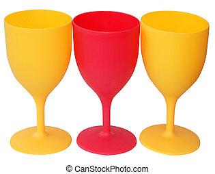aufgehalten, plastik, drei gläser