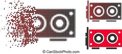 aufgelöst, punkt, halftone, video, grafik, karte, ikone