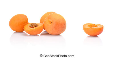 aufgeschnitten, aprikosen, weißes, drei, freigestellt