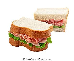 aufgeschnitten, butterbrot, schinkenkate, salat, bread