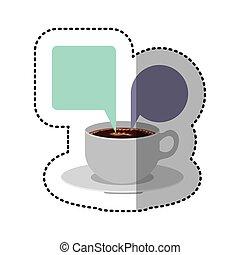 aufkleber, bunte, satz, porzellan, becher, bohnenkaffee, mit, dialog, callout, kasten