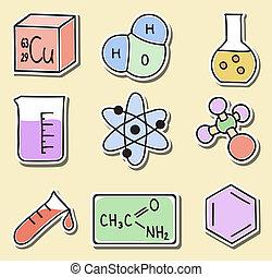aufkleber, chemie, -, abbildung, heiligenbilder