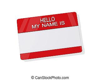 aufkleber, mein, hallo, name