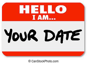 aufkleber, nametag, hallo, romanze, wörter, datum, datieren...