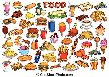 aufkleber, sammlung, für, essen getränk, gegenstand