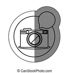 aufkleber, silhouette, kreisförmige form, mit, photographisch, fotoapperat, mit, dialog, kasten