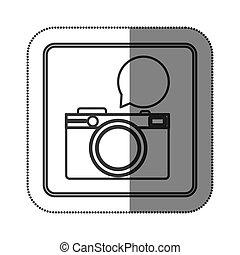 aufkleber, silhouette, quadratische form, mit, photographisch, fotoapperat, mit, dialog, kasten