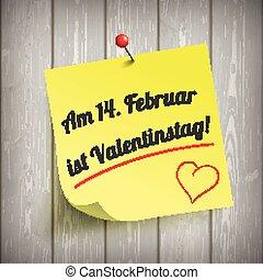 "Aufkleber Valentinstag - German text ""Am 14. Februar ist..."