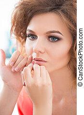 aufmachungskünstler, arbeit, glanz, make-up, professionell, ...