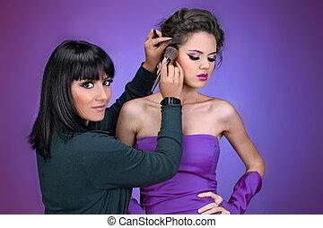 aufmachungskünstler, arbeit, make-up, professionell, modell