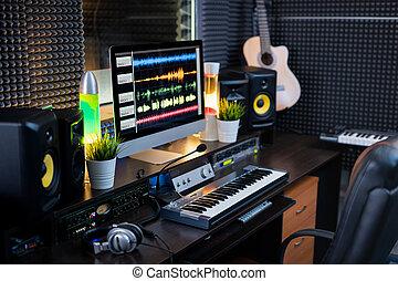 aufnahme, diskjockey, ausrüstung, elektrisch, arbeitsplatz, computermonitor