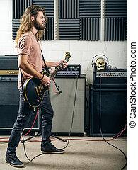 Aufnahme, Gitarrist,  Studio, spielende
