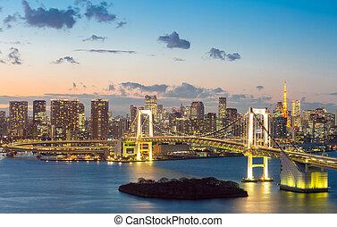 aufsatz überbrücken, tokyo, regenbogen