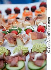 aufschließen, appetitanregend, frischer fisch, fleisch, finger- nahrung