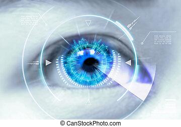 aufschließen, augenpaar, von, technologien, in, der, futuristic., :, kontaktlinse