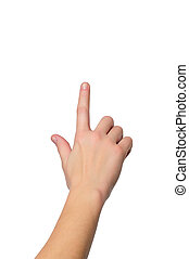 aufschließen, kugel, von, weibliche hand, mit, a, finger,...