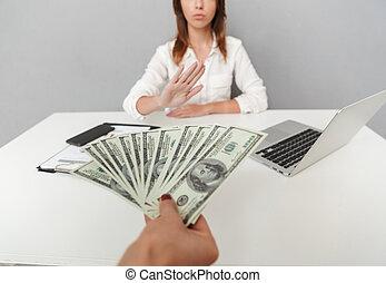 aufschließen, porträt, von, hand holding, bargeld