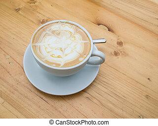 aufschließen, tasse kaffee, latte, auf, der, holztisch