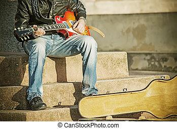 aufschließen, von, a, gitarre spieler, in, weinlese, ton