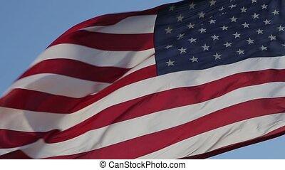 aufschließen, von, amerikanische markierung, waving.
