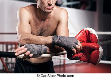 aufschließen, von, boxer, lehnen, ring, seil