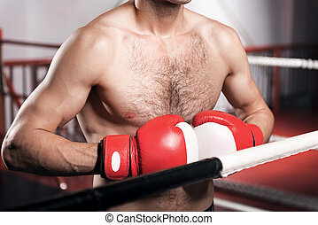 aufschließen, von, boxer, tragen, boxhandschuhe