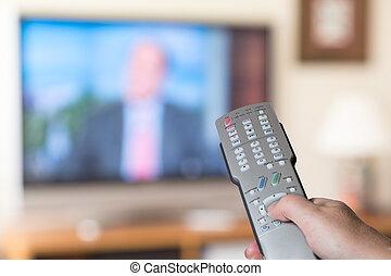 aufschließen, von, fernsehapparat fernbedienung, mit,...