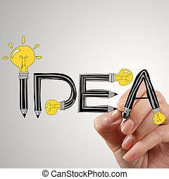 aufschließen, von, hand schreiben, idee, design, glühlampe, als, begriff