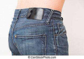 aufschließen, von, mann, zurück, tragen, jeans