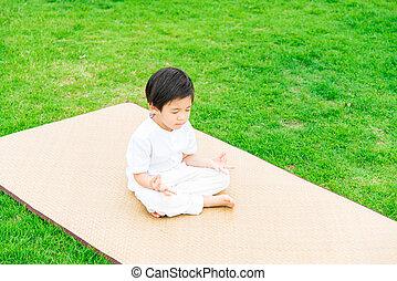 aufschließen, von, reizend, buddhist, asiatischer junge