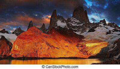 aufstellen, fitz, roy, patagonia, argentinien