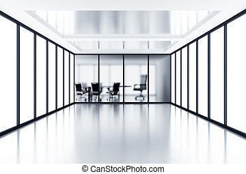 aufteilung, zimmer, versammlung, modern, glas, hinten, kabine, leerer