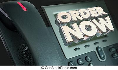 auftrag jetzt, telefonanruf, berühren us, kaufen, angebot, 3d lebhaftigkeit