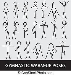 aufwärmen, posen, eps10, gymnastisch