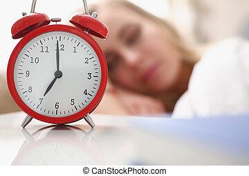 aufwachen, morgen, alarm, schöne frau, junger