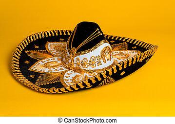 aufwendig, gold, schwarz weiß, mexikanisch, sombrero
