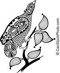 aufwendig, tinte, vogel, dekoration