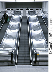 aufzug, treppe kasten, -, person