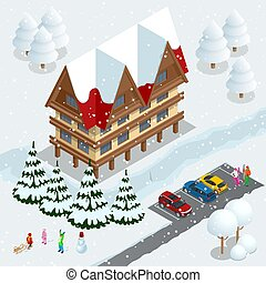 aufzug, weißes, ski, vektor, banner, hotel., skiers, design...