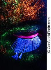 auge, frau, mit, fluoreszierend, farbe, makeup., aufschließen