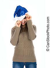 auge, Hüte, Eins, guckend,  santa, Lächeln, m�dchen, heraus