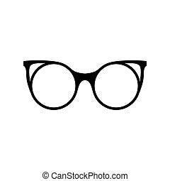 auge, illustration., silhouettes., glasses., vektor, schwarz, retro, sonnenbrille, icon., brille
