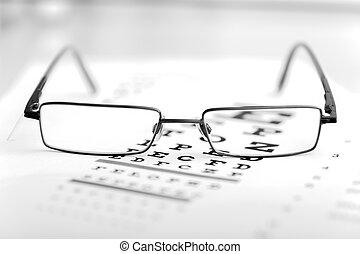 auge, klar, modern, tabelle, schwarz, anblick- test, brille