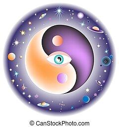 auge, universe., zentrieren