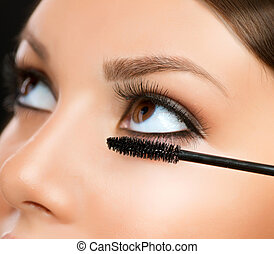 augenpaar, applying., aufmachung, wimperntusche, make-up, closeup.