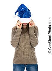 augenpaar, frau, Sie, Hülle, böser, gegen, hintergrund, weißes, Hut, Weihnachten