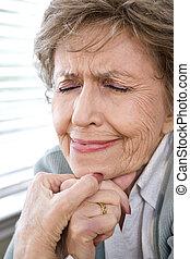 augenpaar, frau, umsturz, senioren, gesicht, geschlossene