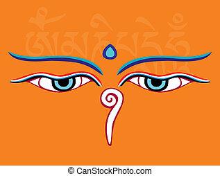 augenpaar, heilig, -, abbildung, weisheit, vektor, buddha, asiatisch, symbol, religiöses, oder